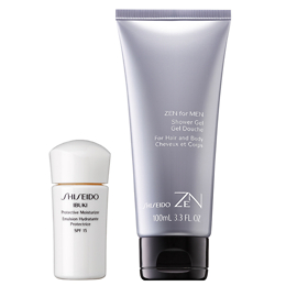 Shiseido IBUKI Protective Moisturizer SPF15 15ml or Zen for Men Shower Gel 100ml - Free Gift