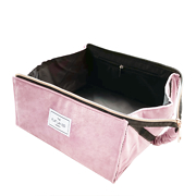 The Flat Lay Co. Open Flat Makeup Box Bag in Pink Velvet