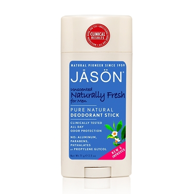 JASON Unscented Naturally Fresh Pure Natural Deodorant Stick for Men 71g
