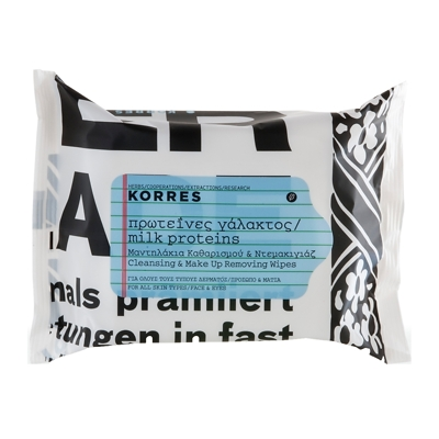Korres Milk Proteins Cleansing & Make Up Removing Wipes x25