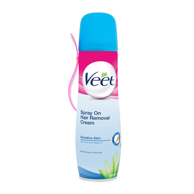 Veet Sensitive Skin Spray On Hair Removal Cream 150ml