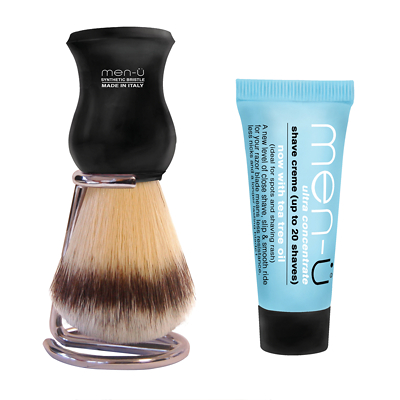 men-ü db Premier synthetic bristle shaving brush with shave crème 15ml