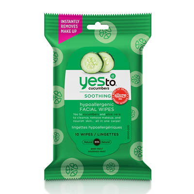Yes To Cucumbers Soothing Hypoallergenic Facial Travel Towelettes x10