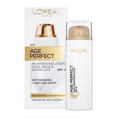 L'Oreal Paris Age Perfect Face, Neck & Decollete SPF15 Rehydrating Lotion 50ml