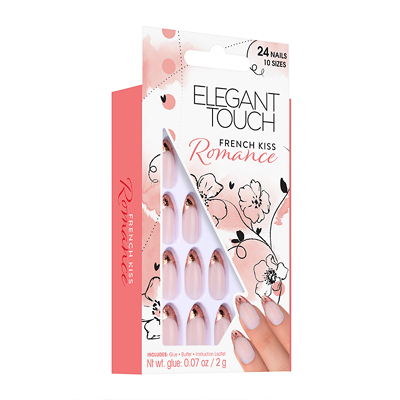 ELEGANT TOUCH Set 6 Nails adhesive fake romance first kiss manicure pedicure