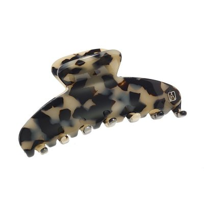 Alexandre De Paris Hair Clip Classic Beige and Black 8.5cm