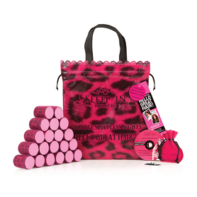 Sleep-In Rollers Pink Leopard Rollers x 20 Plus Drawstring Bag - Pink Gifts