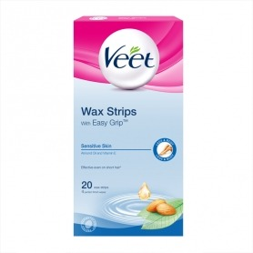 Veet EasyGrip Ready-to-Use Wax Strips x20 & Perfect Finish Wipes x4 -